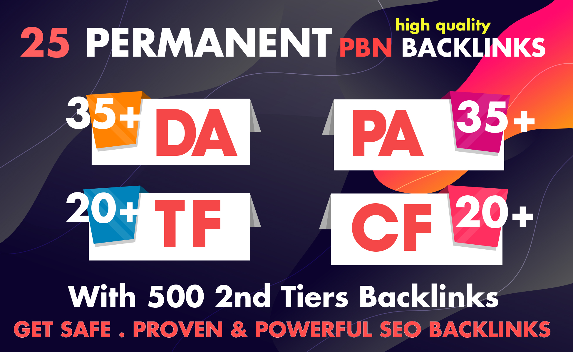 Permanent  25 Manual High TF CF DA PA 20 + to 35 Homepage PBN With 500 2nd Tiers Backlinks