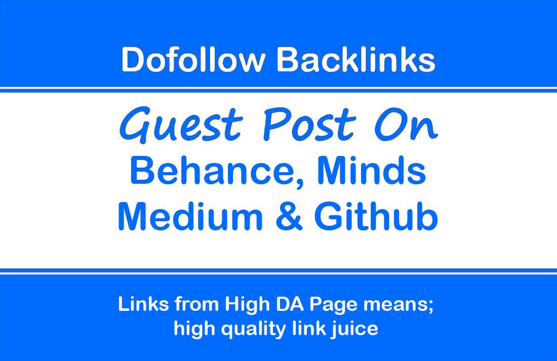 Publish Guest Posts on Behance,  Minds,  Medium & Github