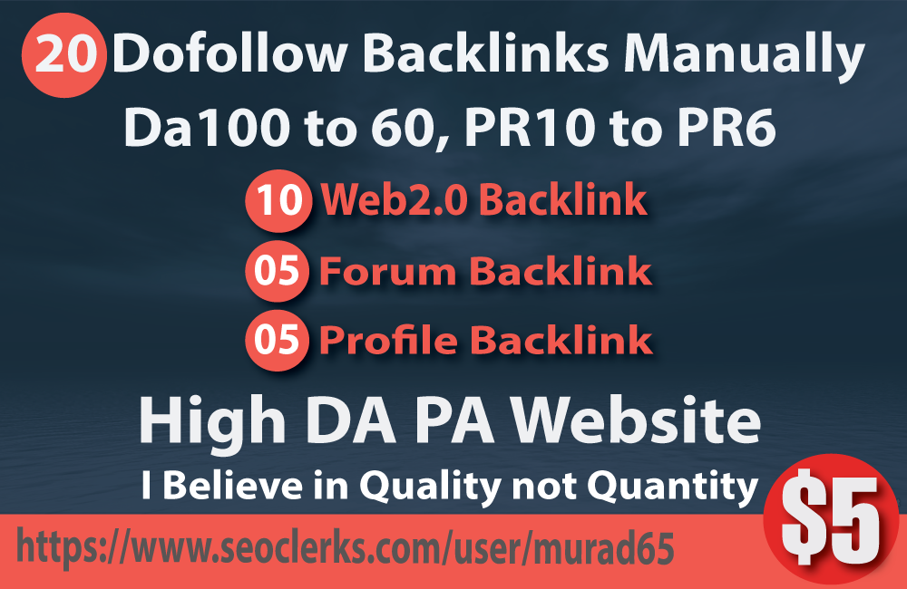 20 Dofollow Backlinks Manually Da100 to 60, PR10 to ...