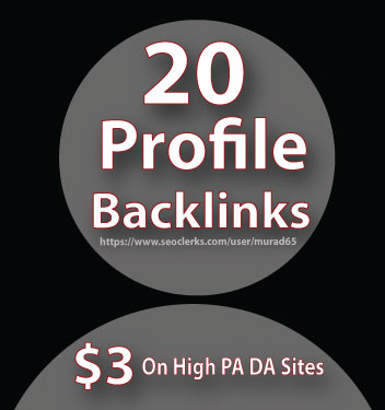 Create 20 High DA Profile Backlink Manually for Your Sites