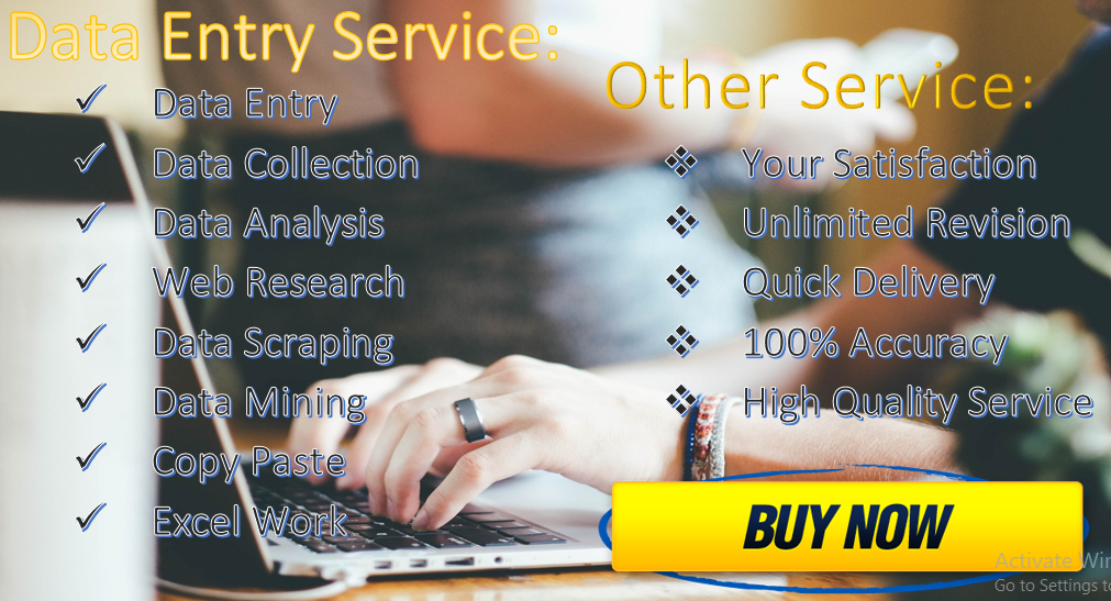 I do Provide 3 Hours Any Data Entry,  Data Analysis Service