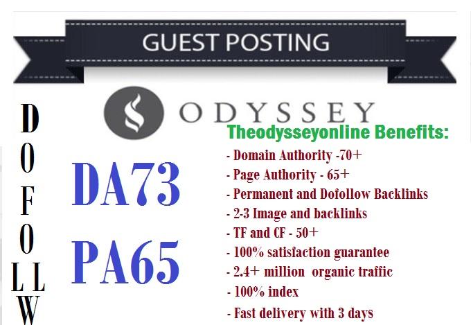 Publish a guest post on Theodysseyonline. com da73 dofollow link