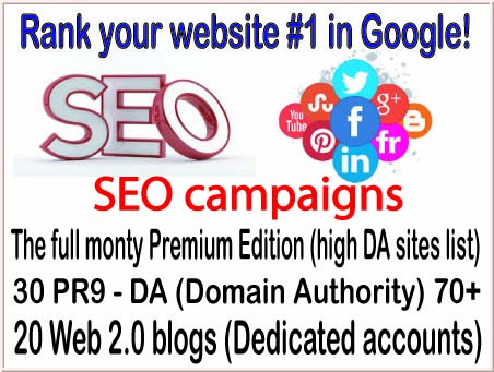 HQ SEO campaigns-The full monty Premium Edition-30 PR9 - DA Domain Authority 70-20 Web 2.0 blogs backlinks