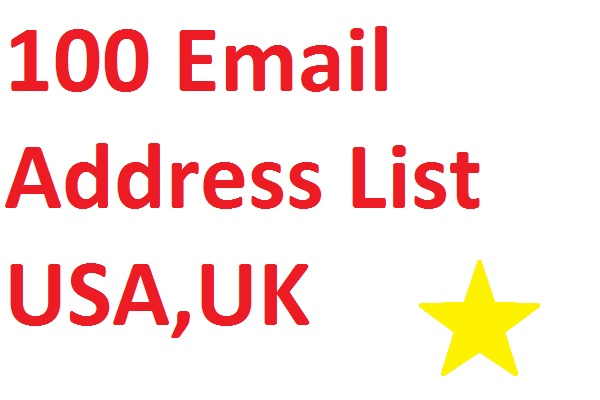 100 Email Address List USA,UK Download