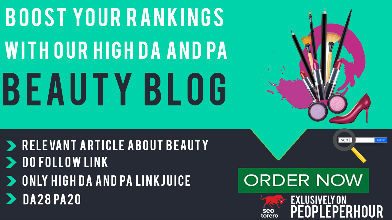 Write and publish an article on Beauty Blog with DA28/PA20