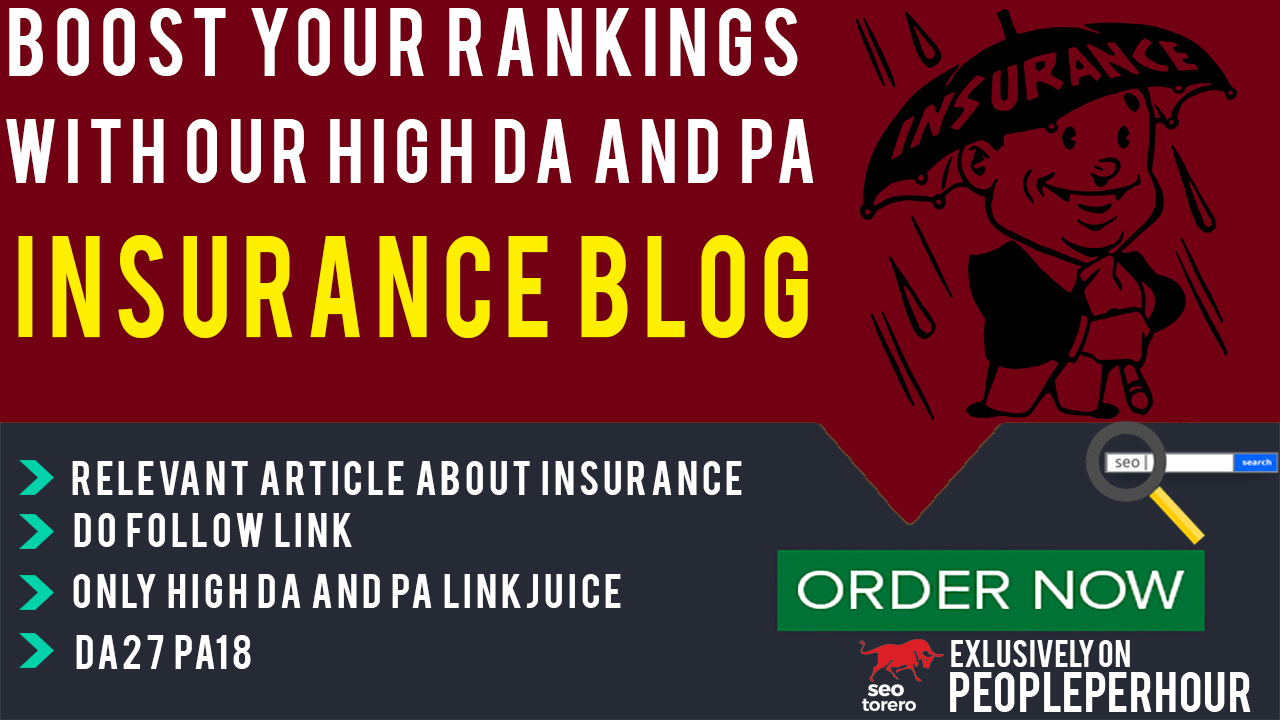Publish Guest Blog post on Insurance blog for Link Building with Metrics DA27 PA18