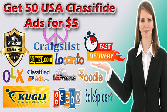 do 50 USA classified ads to high authority sites