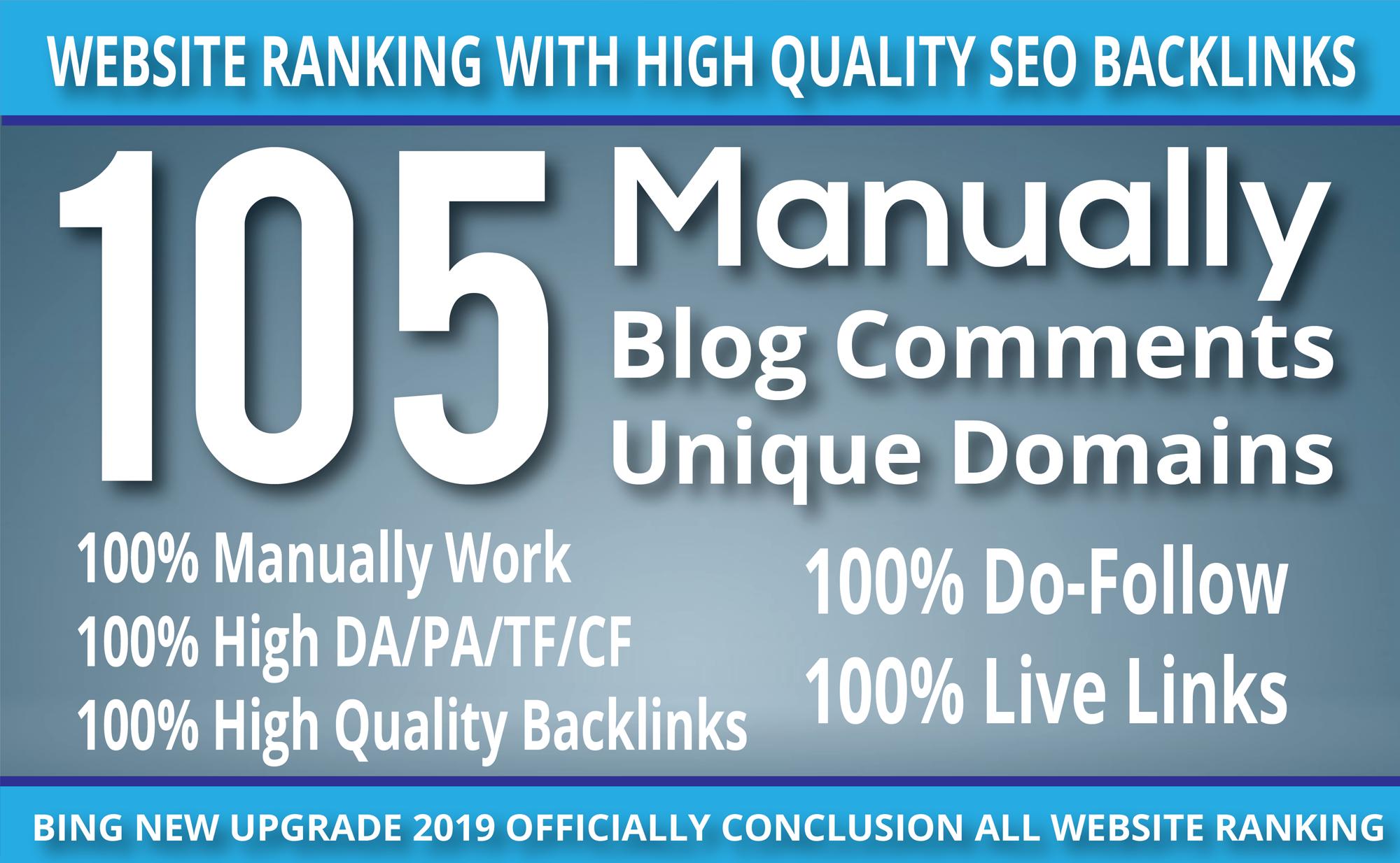 I Do 105 blog comment Seo backlinks ON unique domains