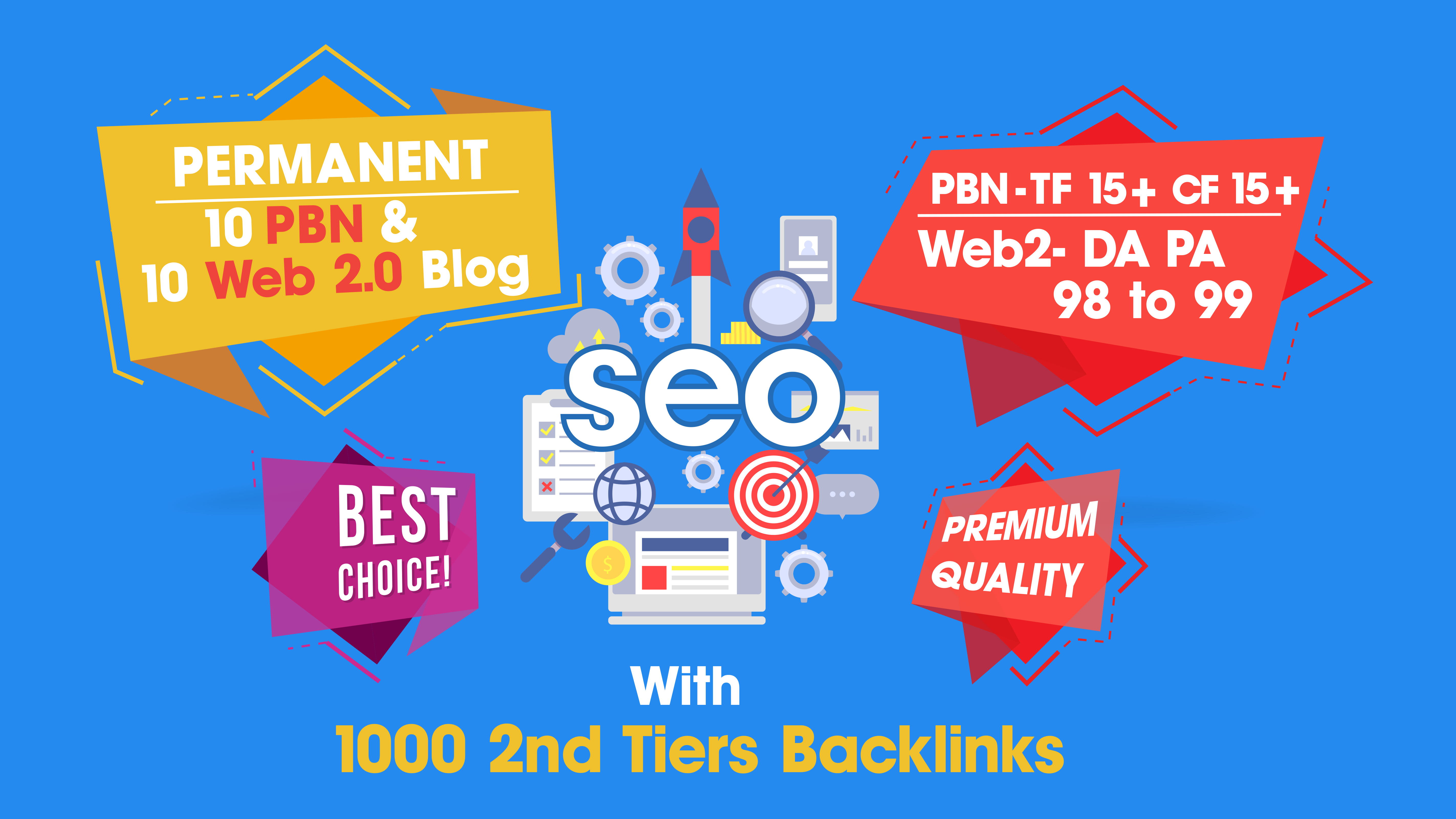ALL IN ONE SEO Permanent 10 PBN & 10 Web 2.0 High Domain With 1000 2nd Tiers Backlinks Service