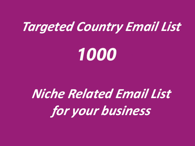 1000 niche based email list for your business