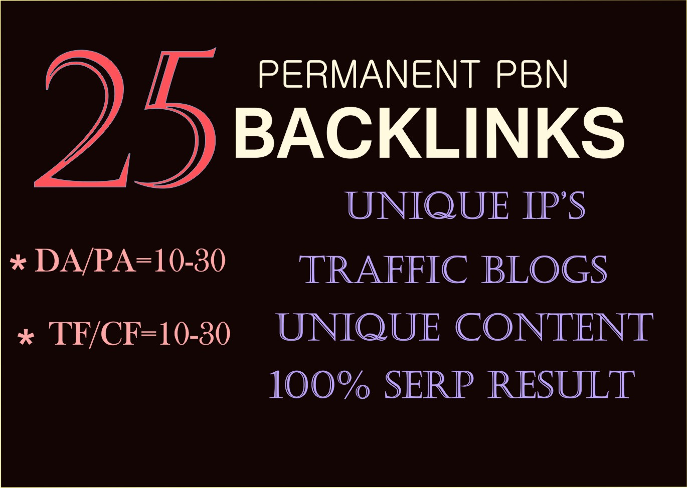25 pbn back-links permanent high trust flow homepage post