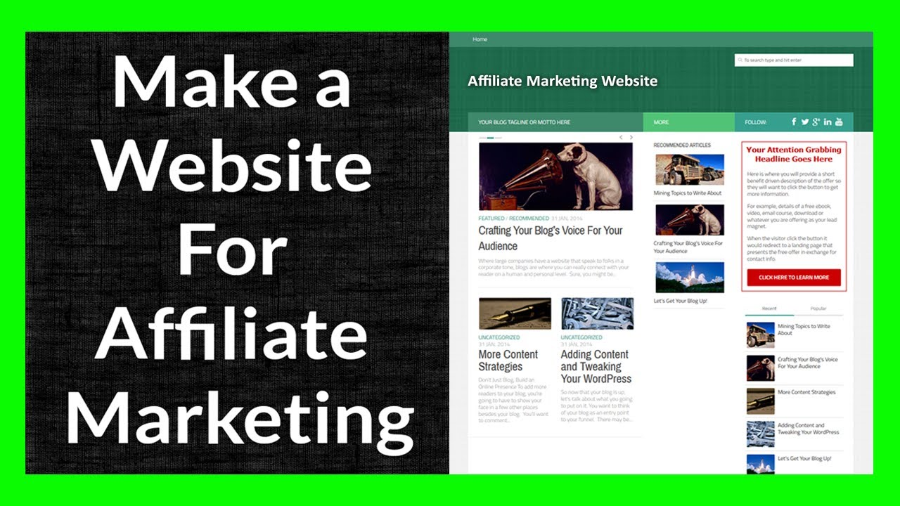 Give affiliate website with 1 Year Free Hosting-wordpress