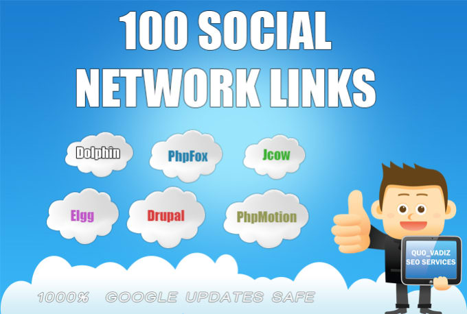create 100 social network SEO backlinks,  awesome for google