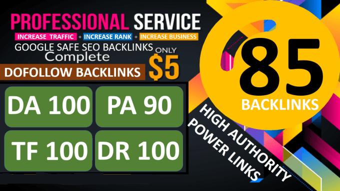 create 85 unique domain SEO backlinks on tf100 da100 sites