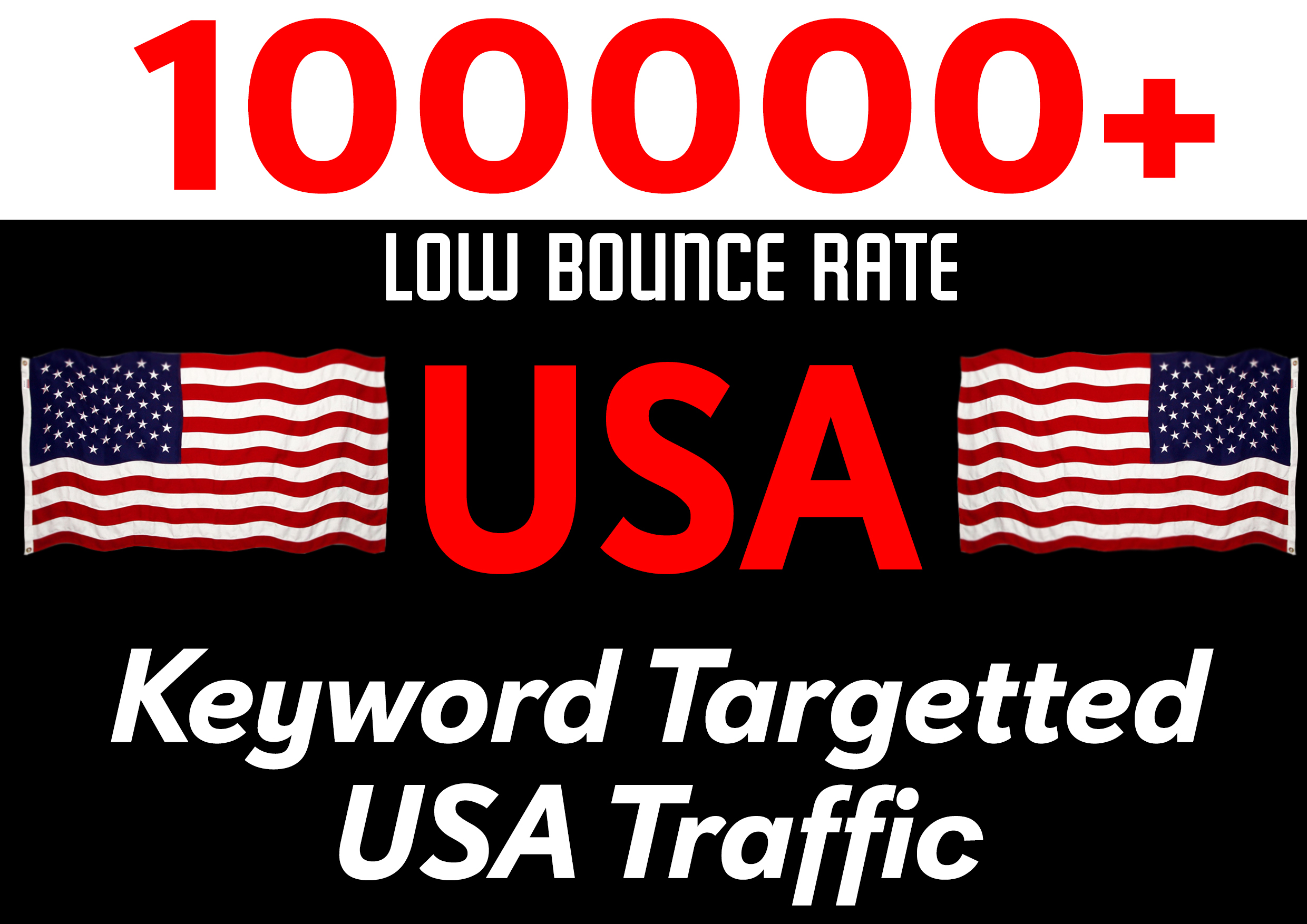 Drive 100000+ Low Bounce Rate USA Keyword Targeted Traffic