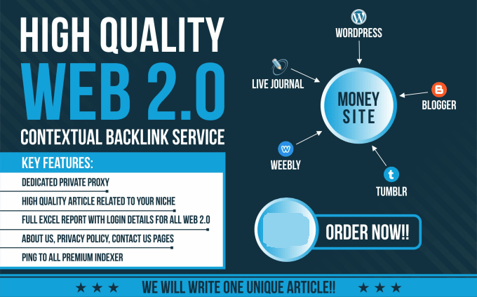 create 10 high authority web 2 0 contextual SEO backlinks with login details