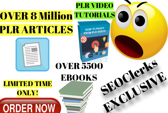 Get Instantly Over 8 Million PLR Articles,  5500 Ebooks With Stock Images,  PLR video tutorial,  etc.