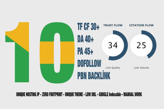 give you 10 unit high tf cf 30 da 40 pa 45 dofollow pbn backlinks