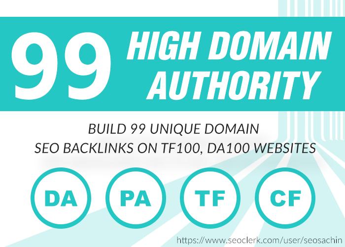 Build 99 Unique Domain SEO Backlinks On Tf100 Da100 Sites