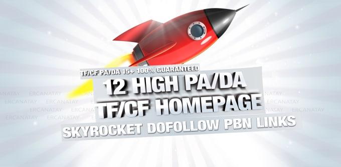 give you 12 high pa da tf cf homepage pbn backlinks