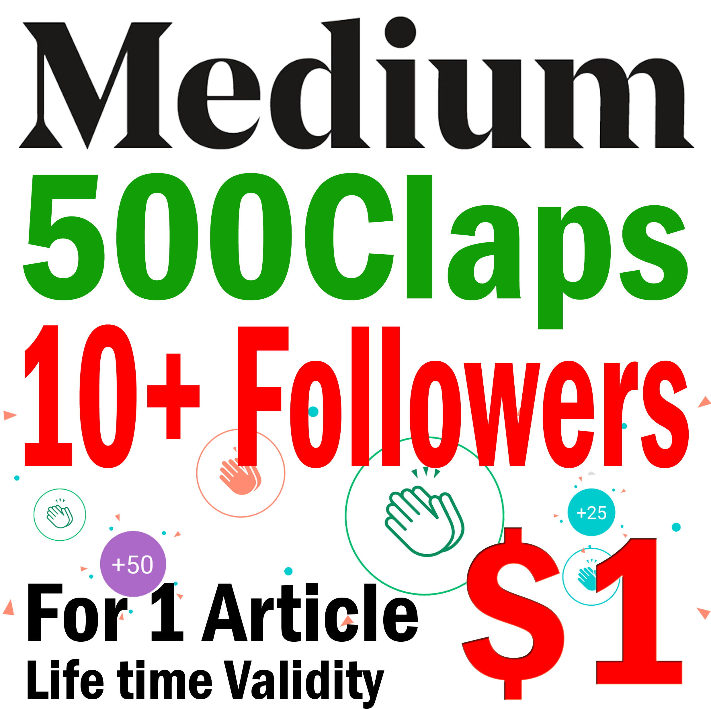 Get 500 Medium Claps to 1 Article and 10+ Foll.