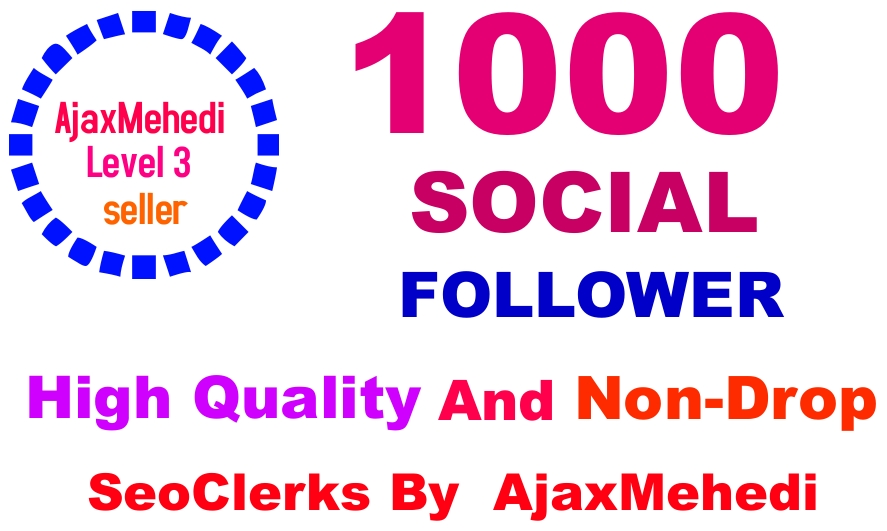 Do A Genuine 1000 Followers from High Quality Stable Accounts