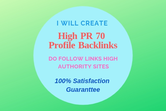 Give You 70 DoFollow Profile Backlinks.