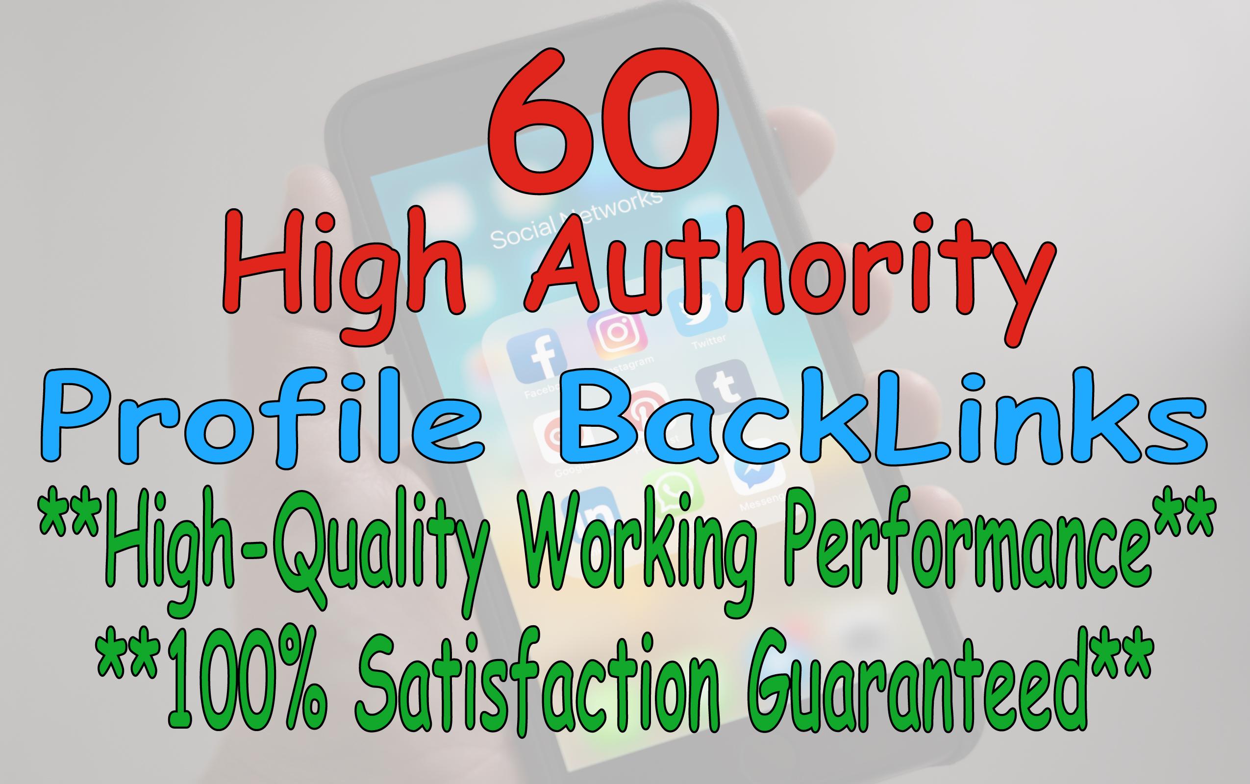 create manually 60 high authority profile backlinks