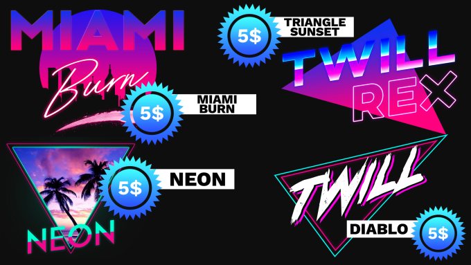 make a miami vibe and neon style 80s style logo