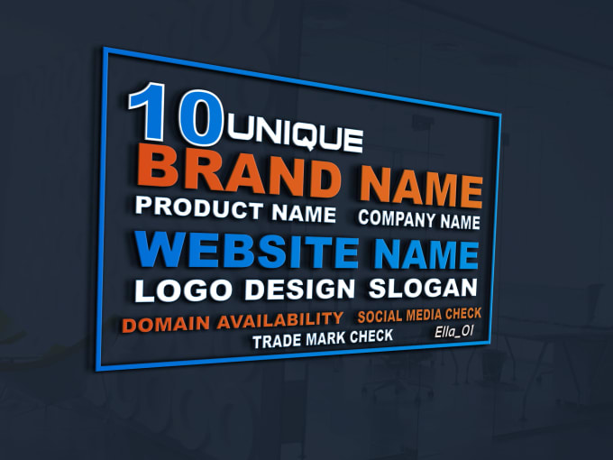 brainstorm 10 business name with domain availability and business logo