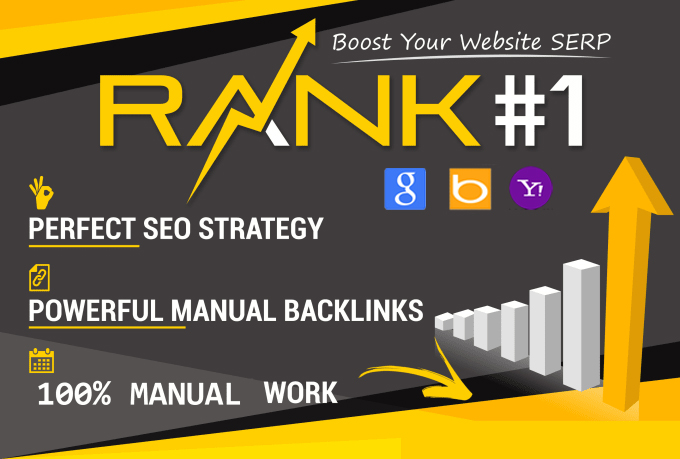 Boost Your Website Ranking To The TOP Position on Google,  Bing,  Yahoo. With 100 Manual Backlinks