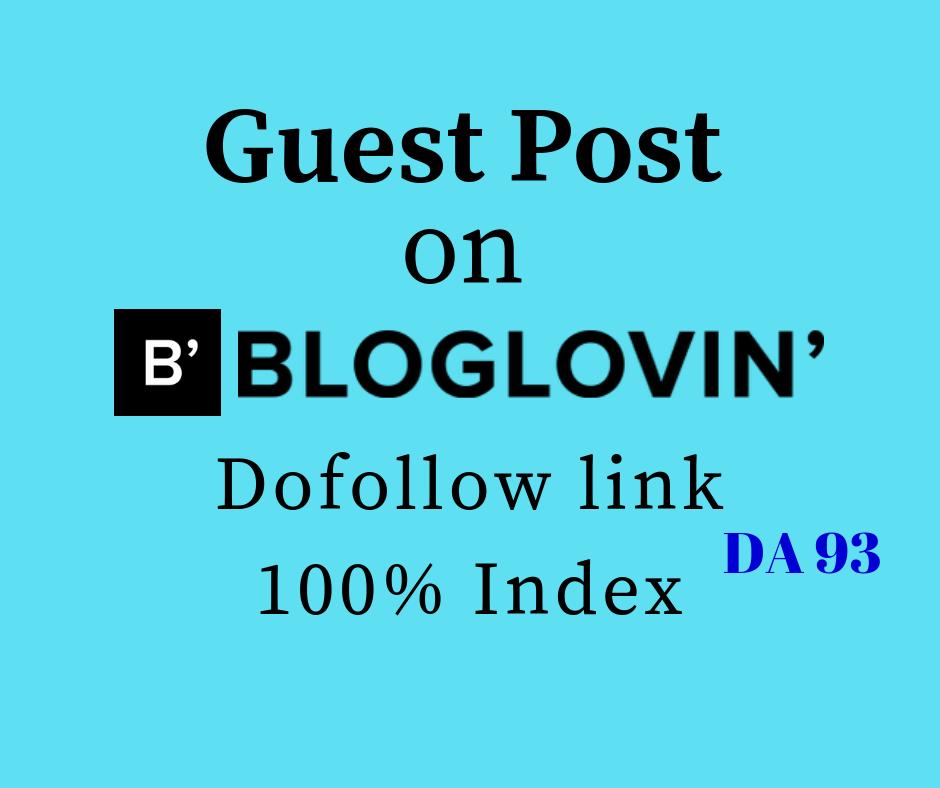Provide Dofollow Guest Post on Bloglovin DA 93