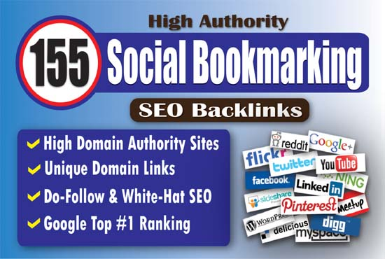 155 High Authority Social Bookmarking SEO Backlinks to Rank Your Website Google #1