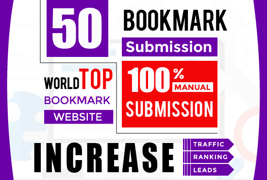50 Bookmark Submission Backlinks,  High Pa Da Cf Tf