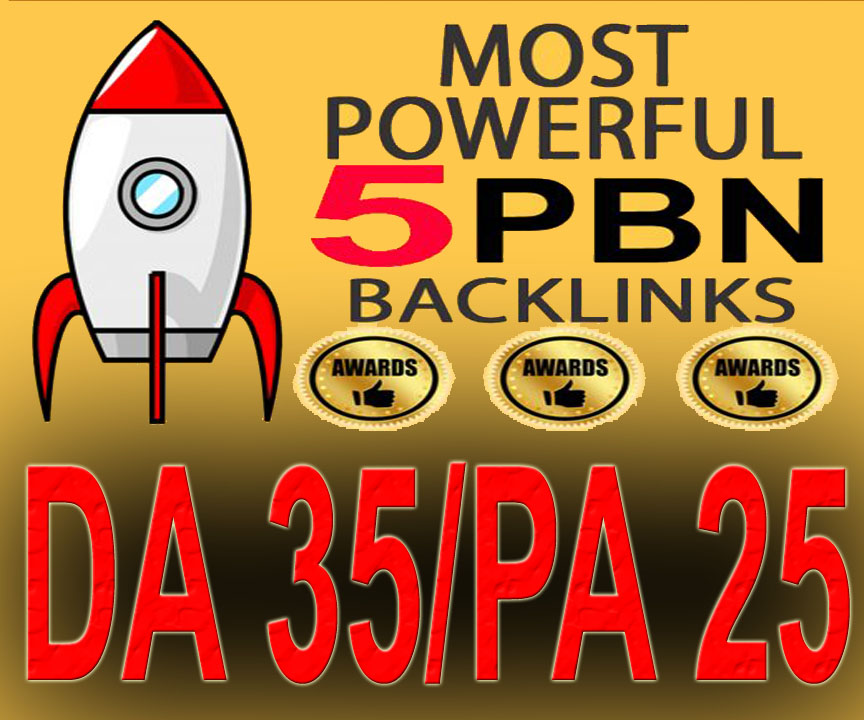 5 Manually Home Page Powerful PBN Backlink DA 35 PA 25
