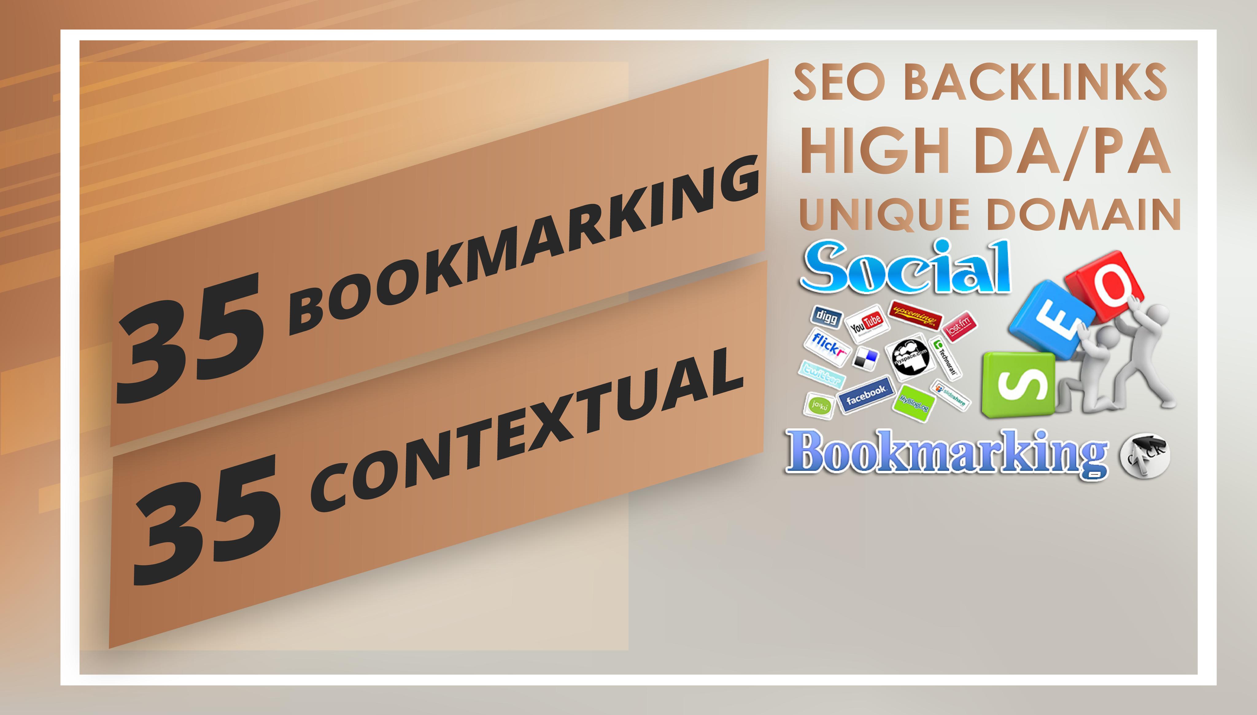 Build Seo Backlinks 35 Contextual + 35 SOCIAL Bookmak...