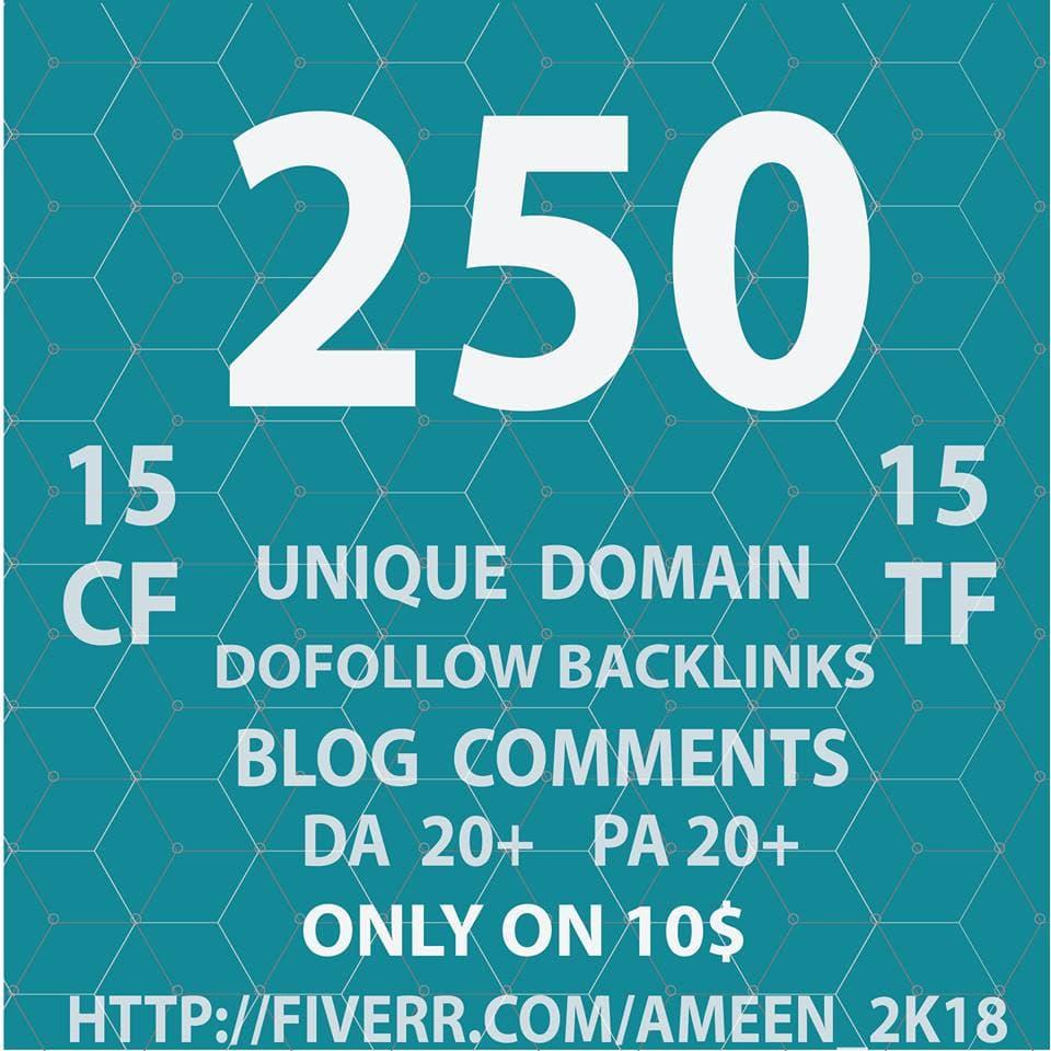 do 250 unique domain dofollow blog comments backlink,high da