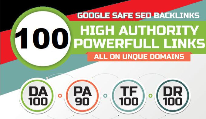 100 unique domain SEO backlinks on tf100 da100 sites