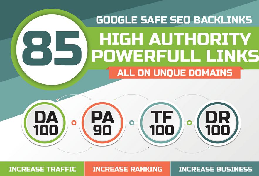 build 85 unique domain SEO backlinks on tf100 da100 sites promotion