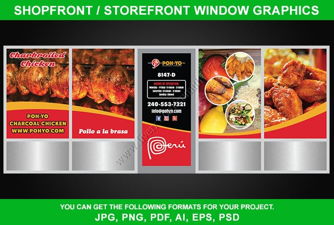 design creative shop front or storefront window graphics