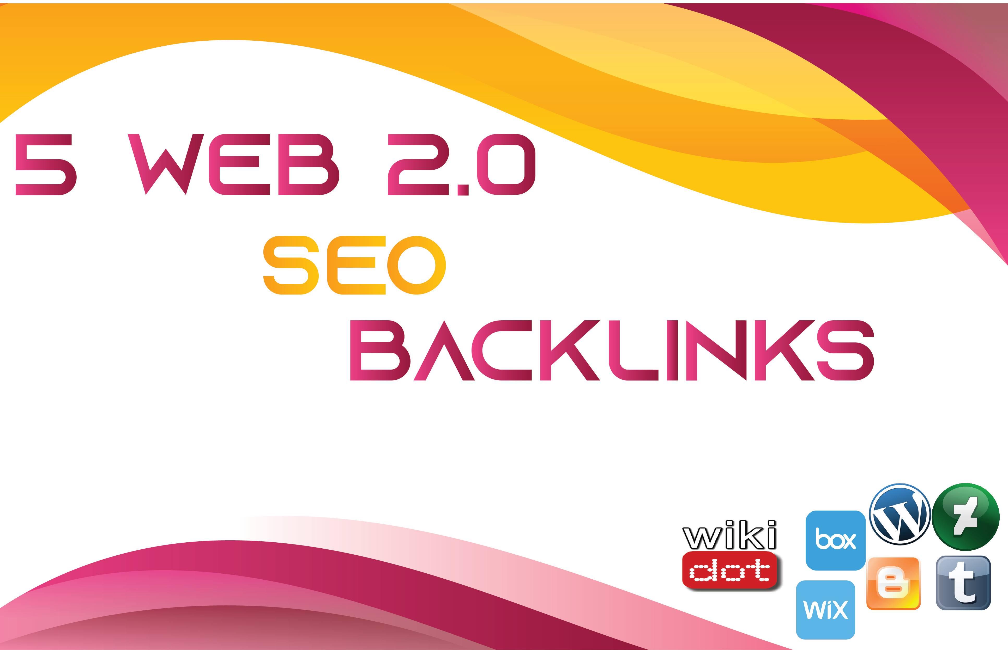 5 Web 2.0 Contextual SEO Backlinks Unique Domain