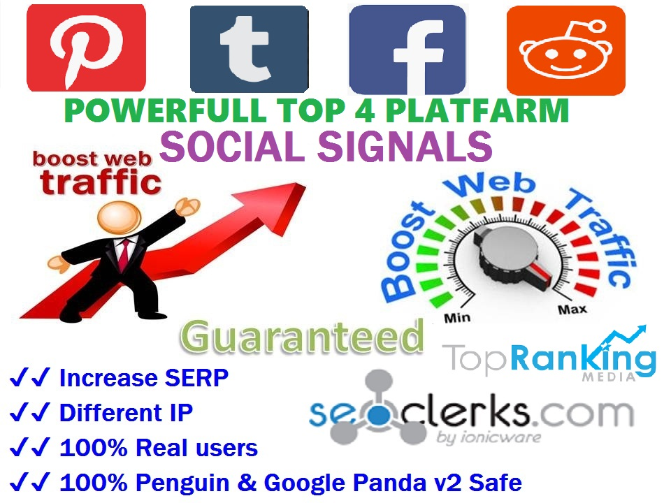Powerfull Top 4 Platform 14,052 Reddit / Tumblr / Pinterest / Webshare /SEO / Mixed / Social Signals / Backlinks / Bookmarks / Traffic / Important Ranking