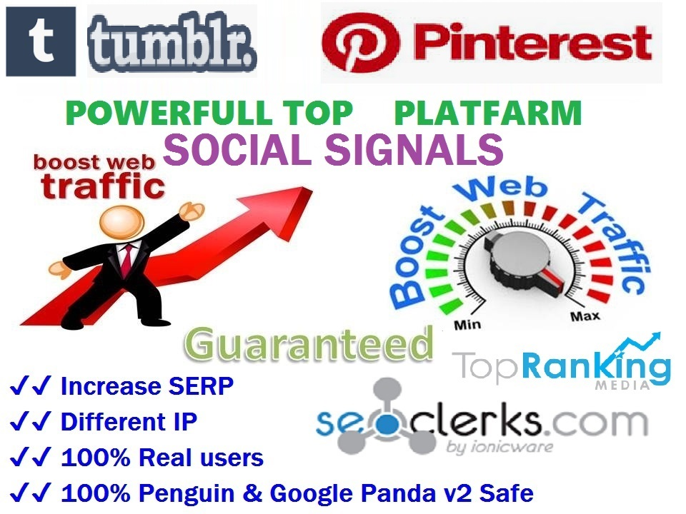 Powerfull Top 2 Platform 16,200 Tumblr / Pinterest Share SEO / Mixed / Social Signals / Backlinks / Bookmarks / Traffic / Important Ranking