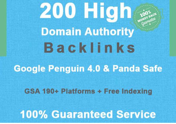200 high domain authority SEO backlinks
