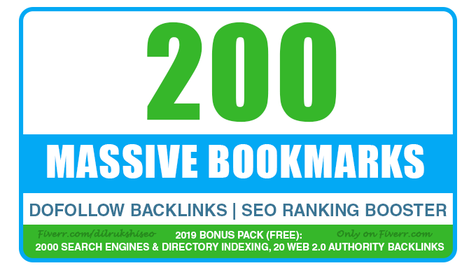 add 200 Social Bookmarking Backlinks for maximum results