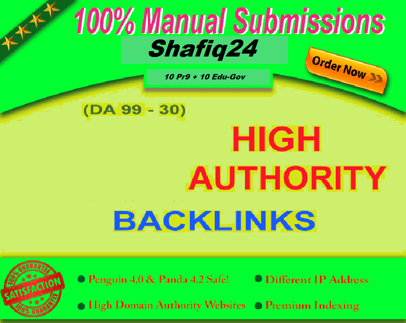 10 PR9 + 10. Edu. GOV Backlinks From DA High Quality