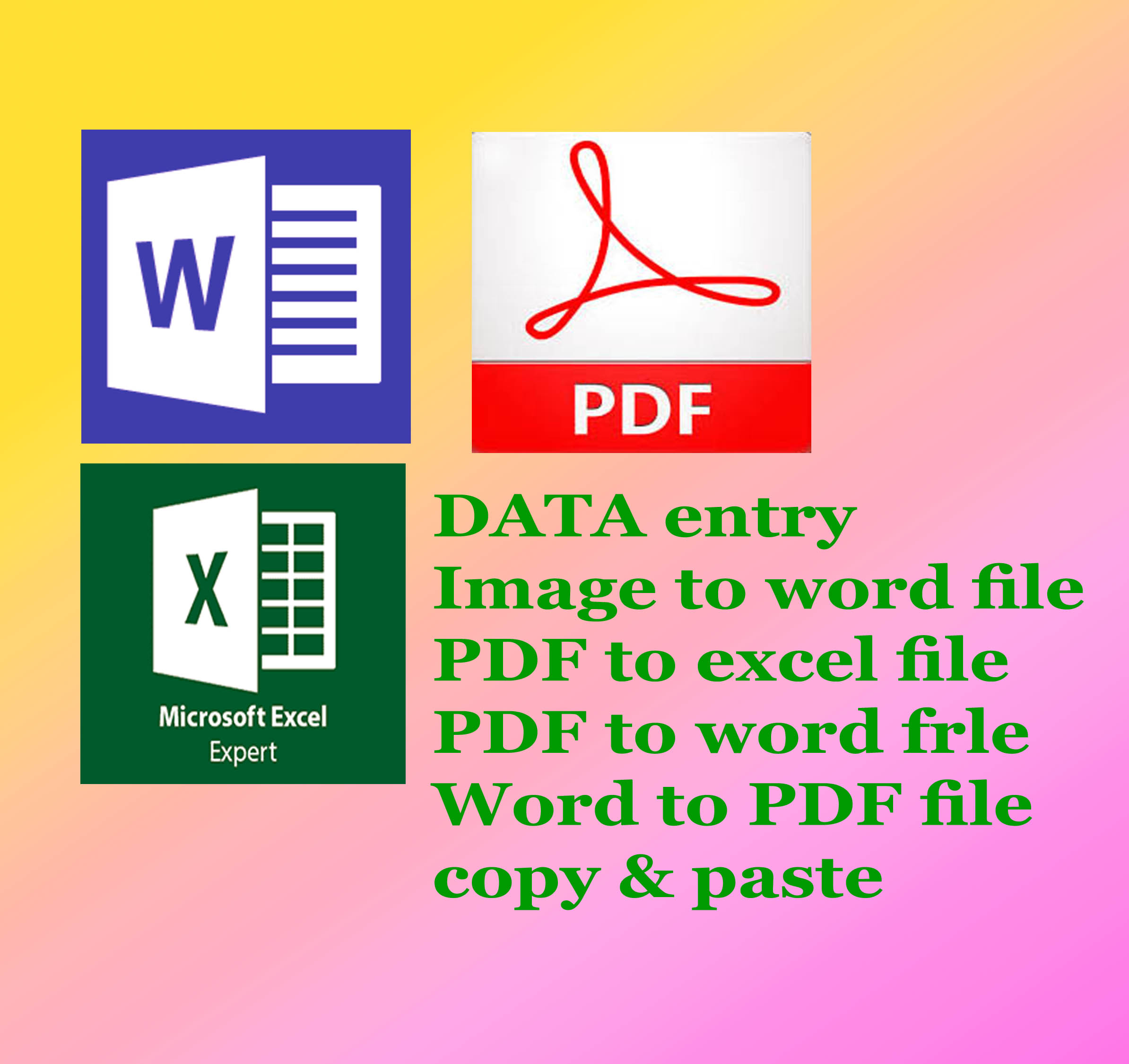 provide you official Data entry and file conversation