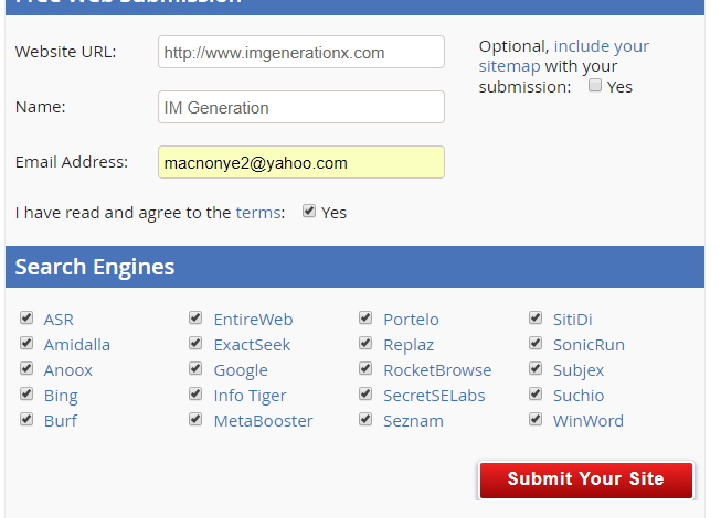 Submit your link to over 500 search engines and web directories