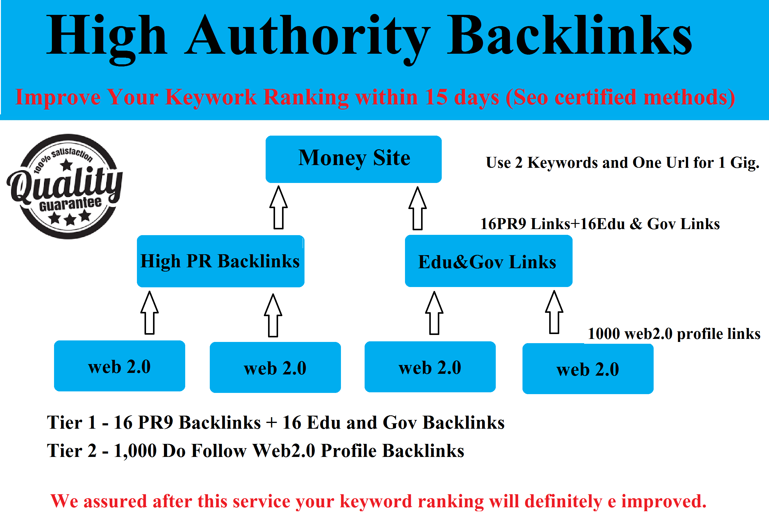 Get High authority Edu and Gov multi-tier backlinks t...