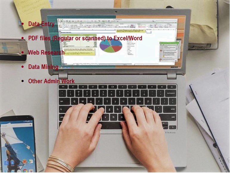 Excel data entry, Web research, copy past Tasks, and Manually typing jobs